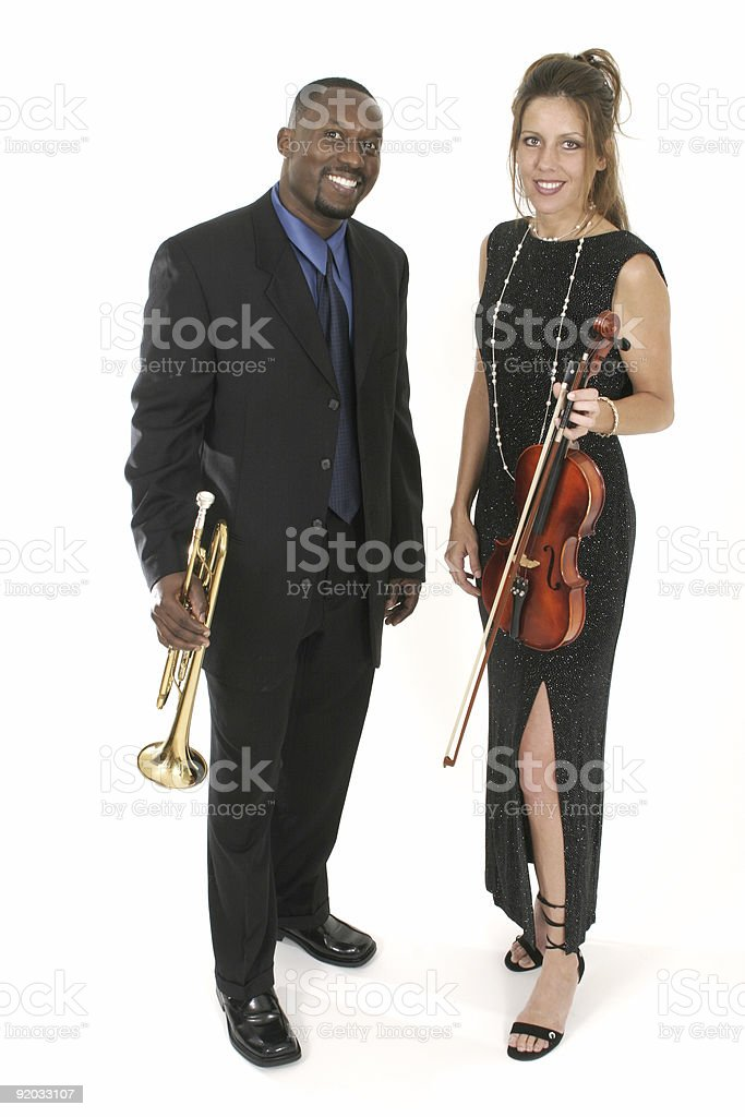 Man And Woman Musicians royalty-free stock photo