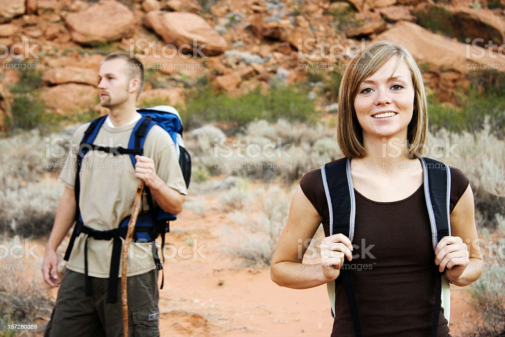 Man and Woman out Hiking royalty-free stock photo