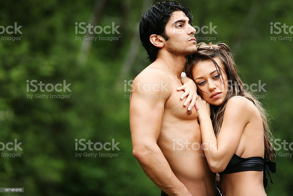 Man and Woman Outdoors Portrait royalty-free stock photo