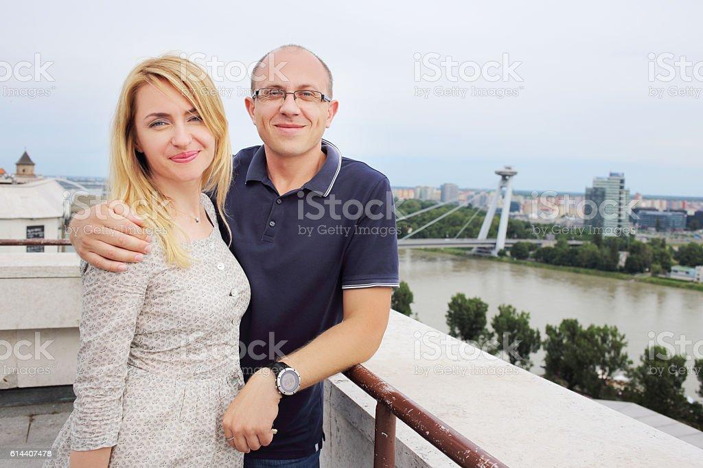 Man and woman posing Bratislava stock photo