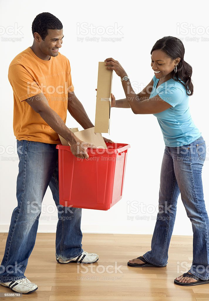 Man and woman recycling. royalty-free stock photo