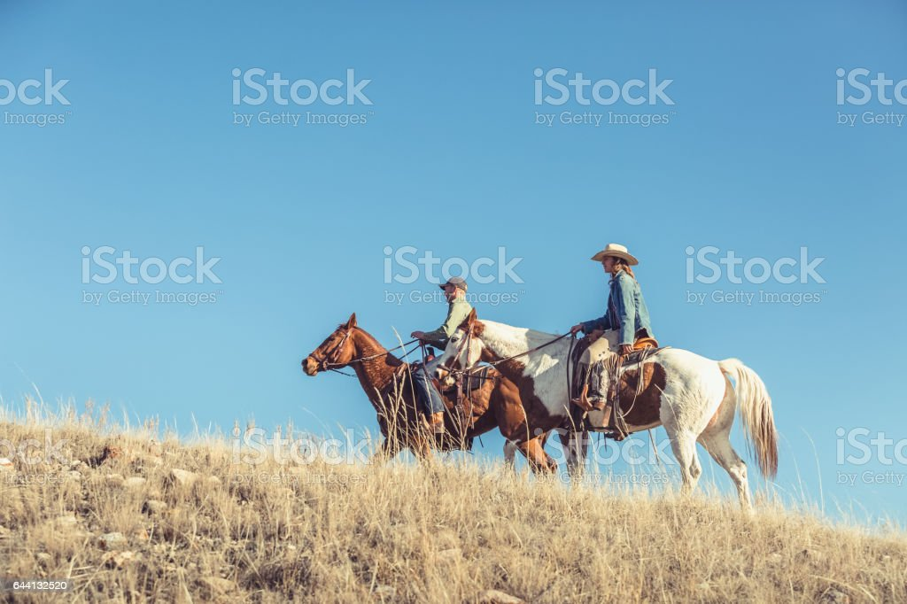 Man And Woman Riding Horseback Up Grassy Hill stock photo