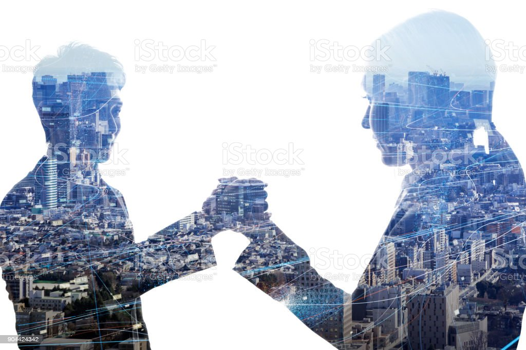 Man and woman shaking hands. Business partnership concept. stock photo
