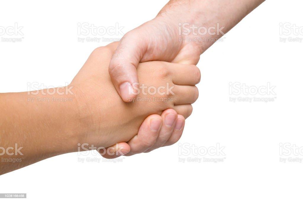 54831666b8 Gestes, Main, Paume de la main, Poignée de main, Se saluer. Homme et femme  se serrant la main isolé sur fond blanc.