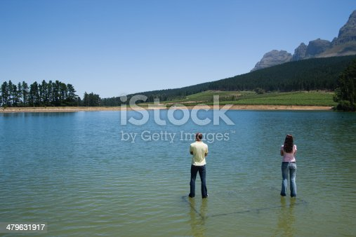 istock Man and woman standing on water with arms crossed 479631917