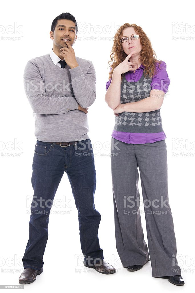 Man And Woman Standing Together. Making a Decision stock photo