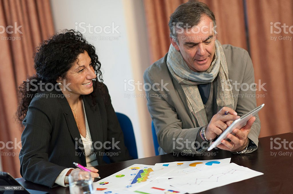 Man and woman talking about business. royalty-free stock photo