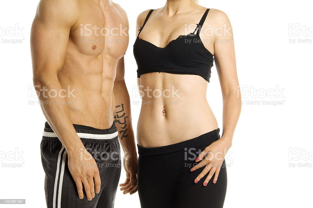 Man and woman torso on a white background stock photo