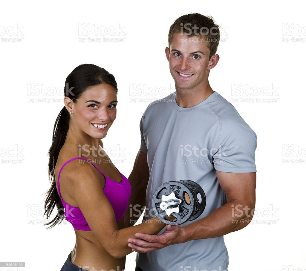 Man and woman weight training royalty-free stock photo