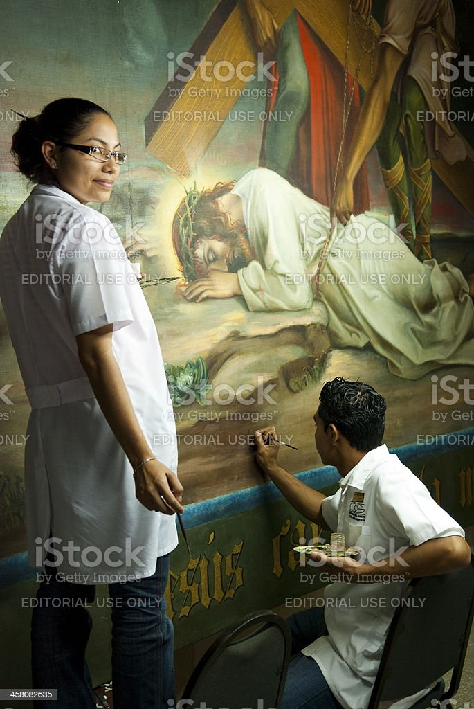 Restoration work on Crucifixion painting royalty-free stock photo