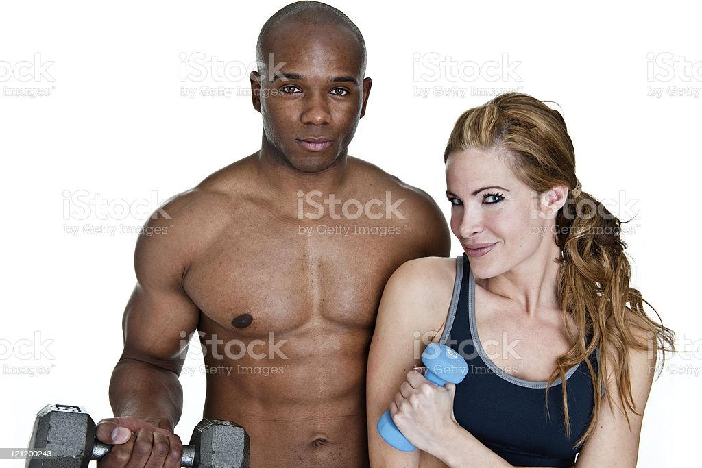 Man and woman working out royalty-free stock photo