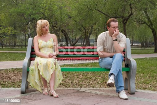 139880782 istock photo Man and women. Difficult mutual relations. 113499960