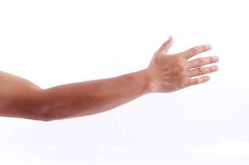 Man arm on white background