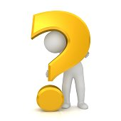 man asking questions interrogation point question mark 3d gold sign symbol icon isolated on white background
