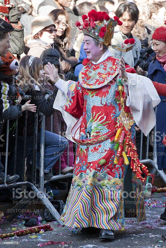 Man at a Chinese New Year Parade stock photo
