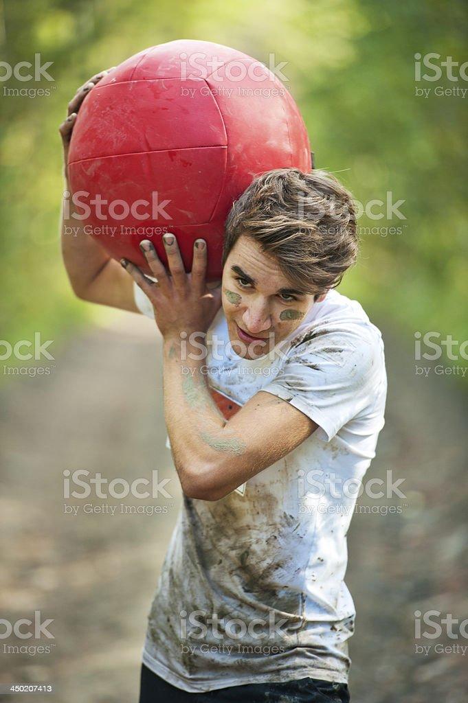 Man at a mud run royalty-free stock photo