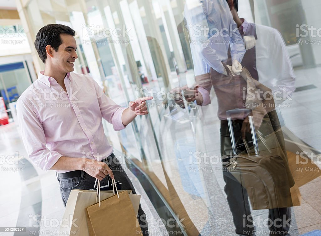 Man at a shopping center stock photo