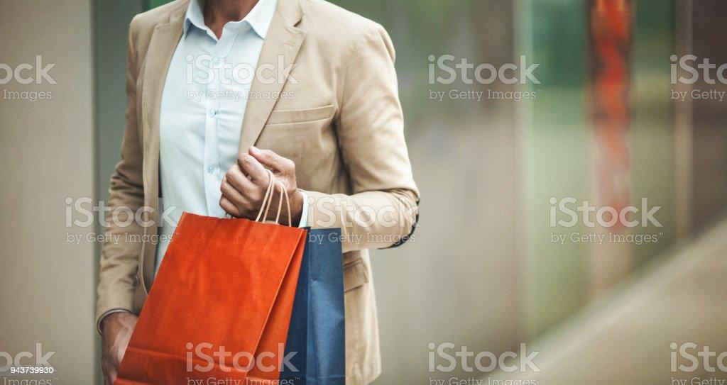 Man at a shopping mall. stock photo