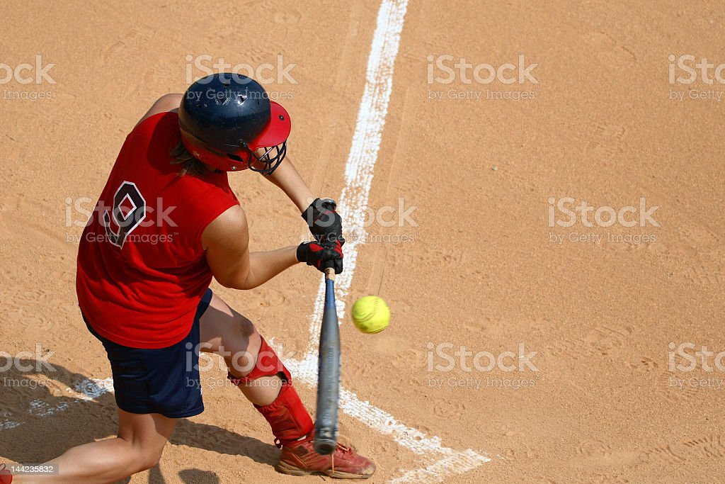 A man at a sports pitch playing softball royalty-free stock photo