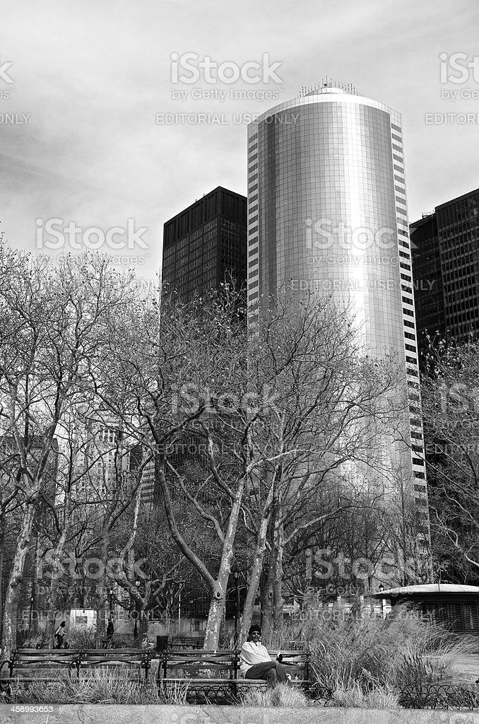 Man at Battery Park, Cityscape, Lower Manhattan, New York City royalty-free stock photo
