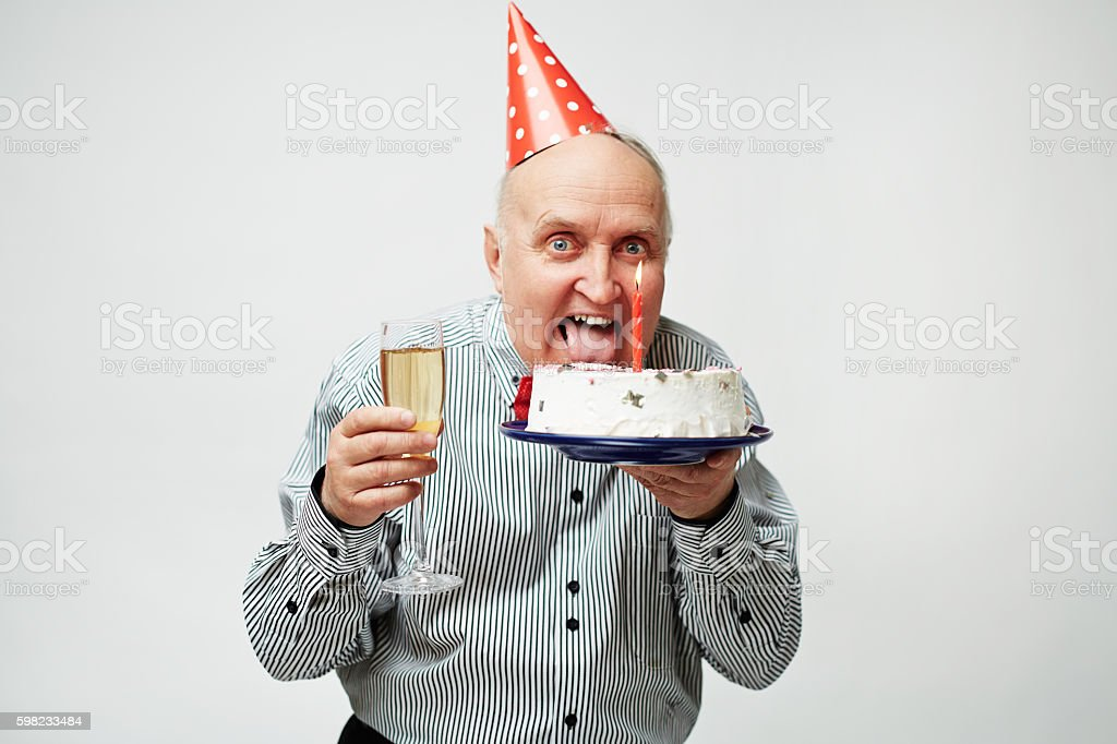 Man at birthday party foto royalty-free
