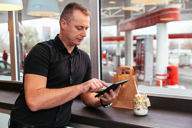 Man At Cafe stock photo