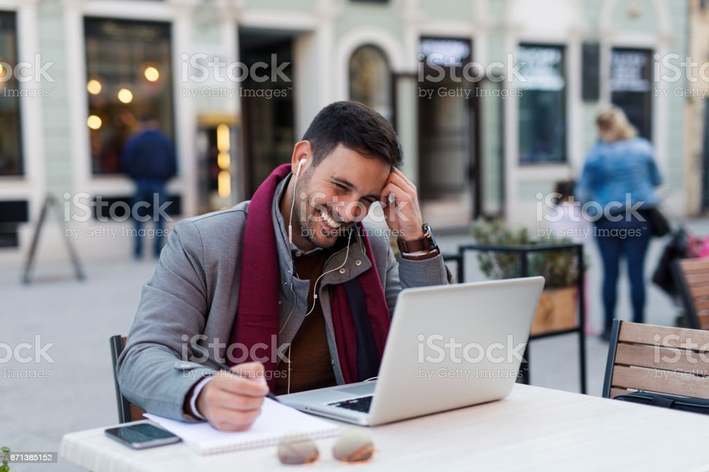 Man at coffee shop stock photo