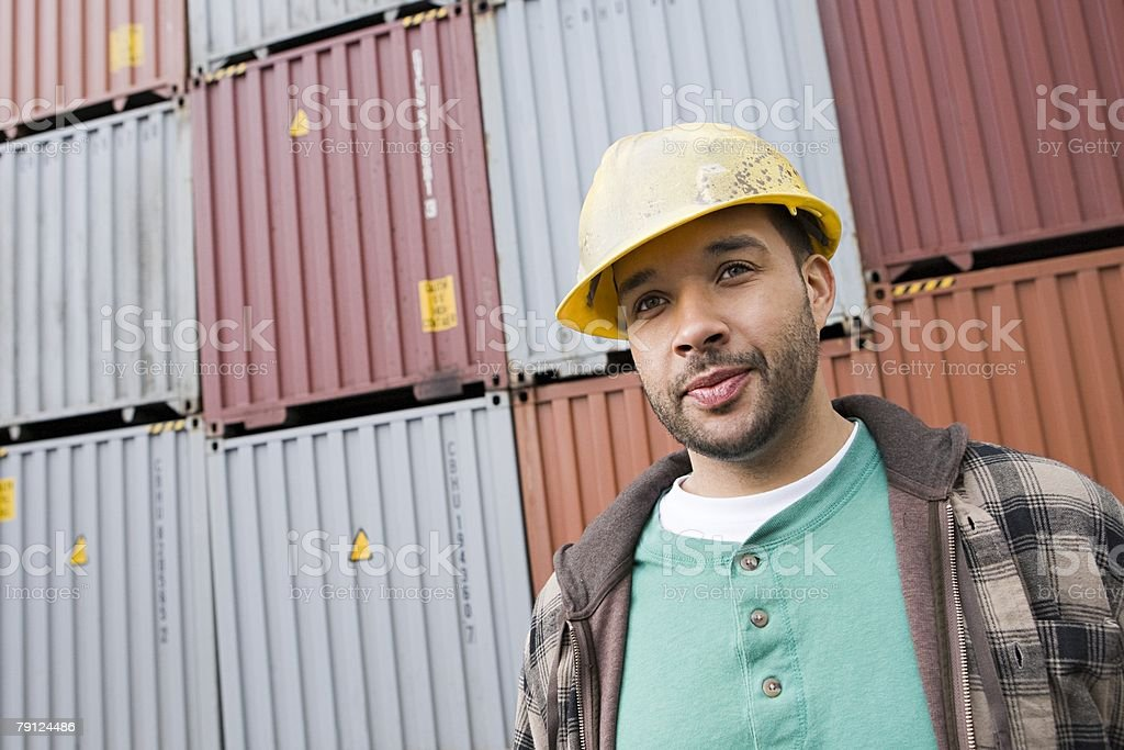 Man at container terminal 免版稅 stock photo