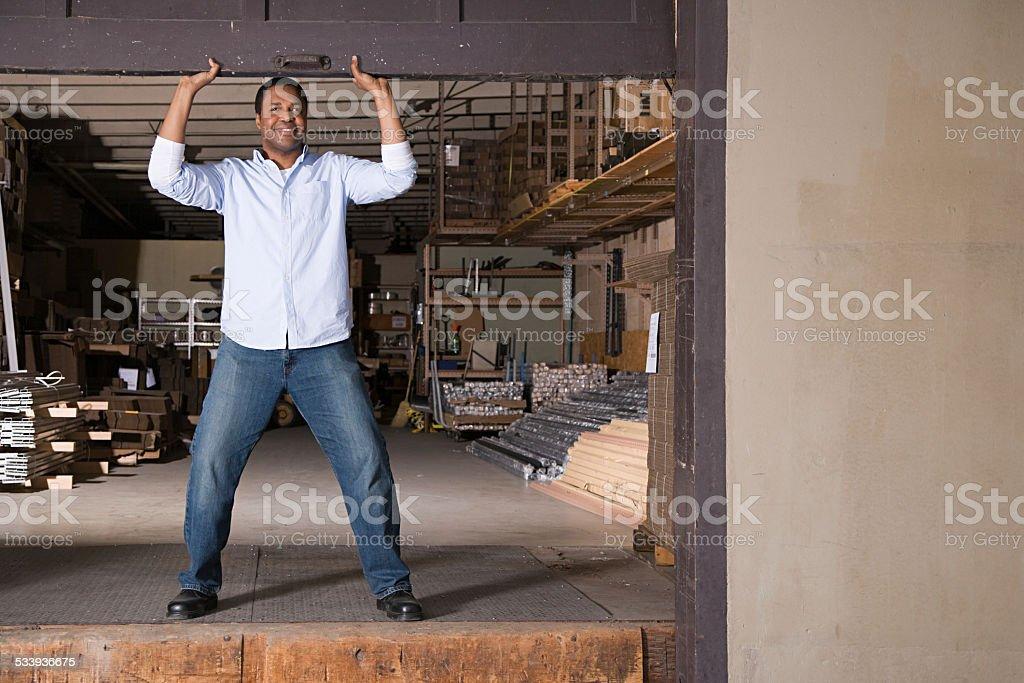 Man at loading bay stock photo