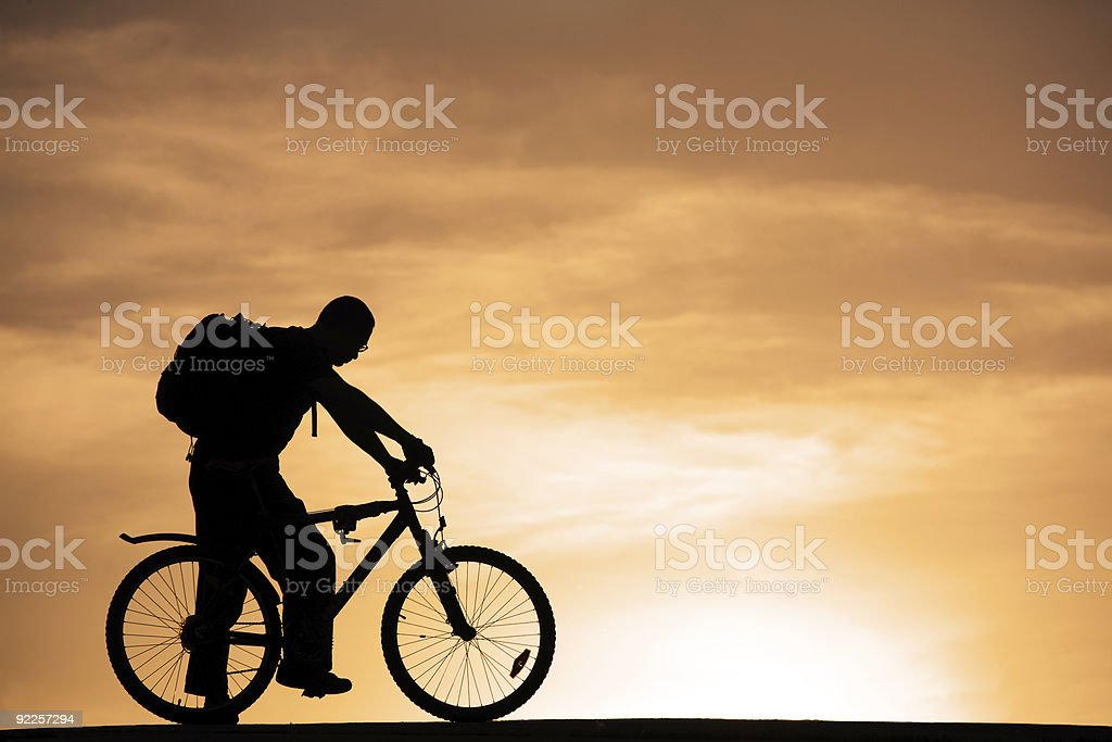 Man at mountain bicycle royalty-free stock photo