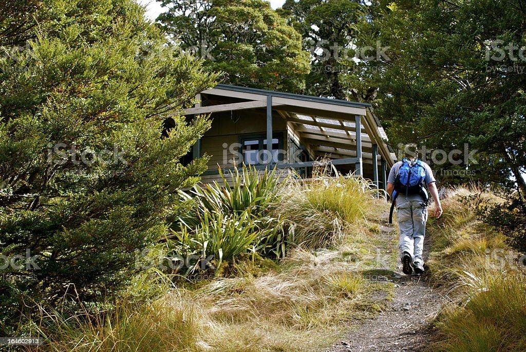 Man at Mt Arthur Hut,  Kahurangi National Park, New Zealand stock photo