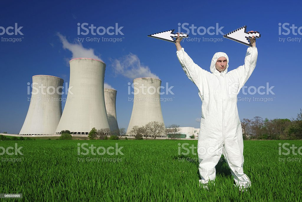 Man at nuclear power plant royalty-free stock photo