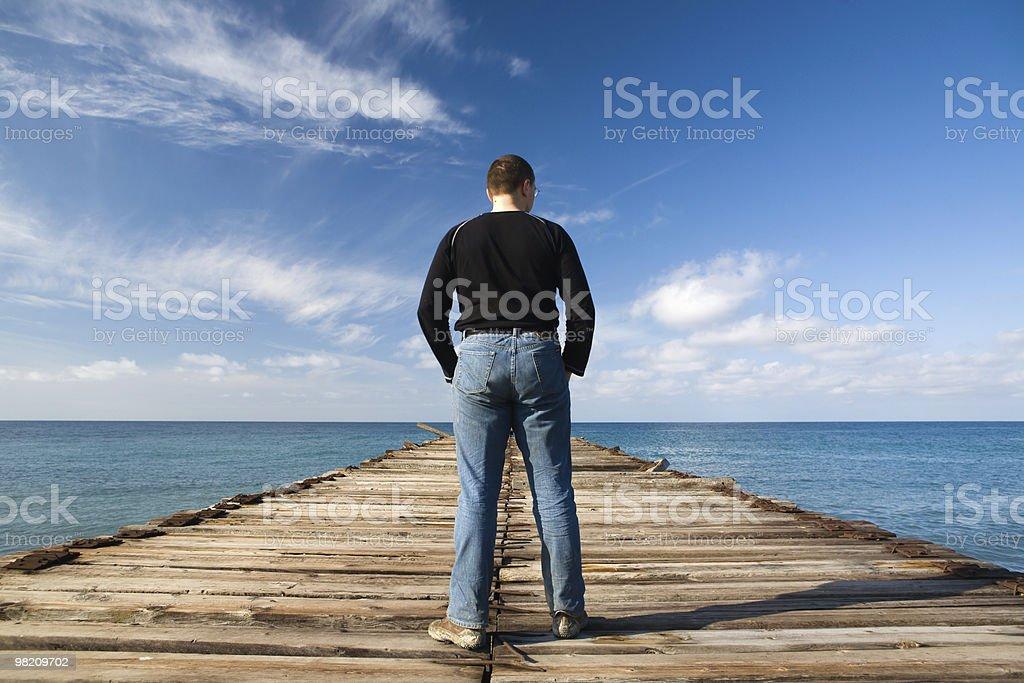 Man at pier royalty-free stock photo