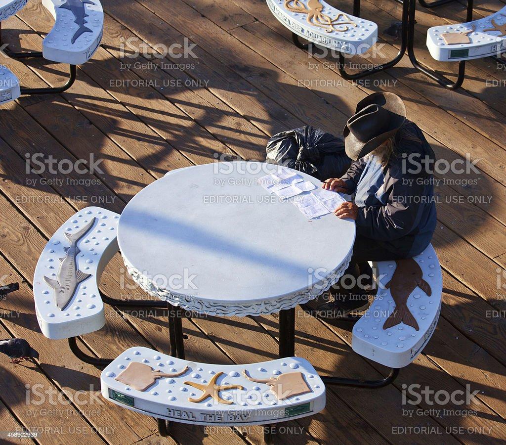 Man at santa monica pier royalty-free stock photo