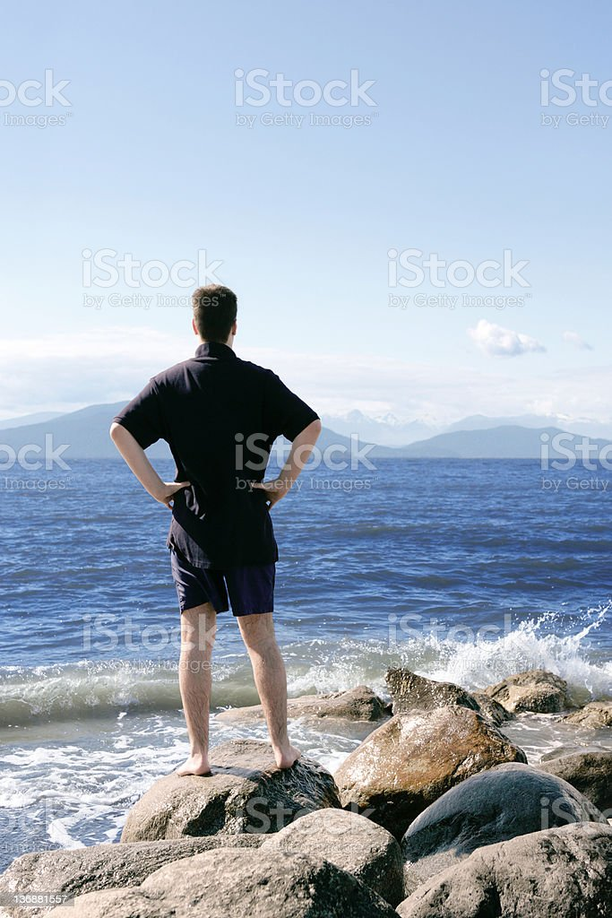 XL man at seashore royalty-free stock photo