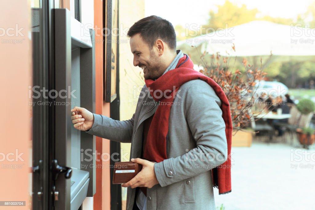 Man at shopping stock photo