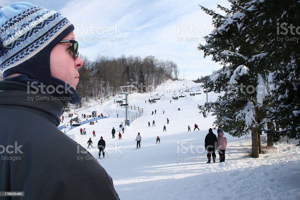 Man at ski station royalty-free stock photo