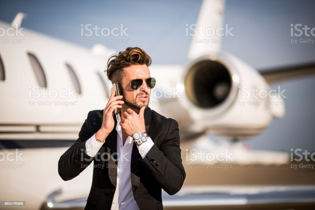 Man at the airport stock photo