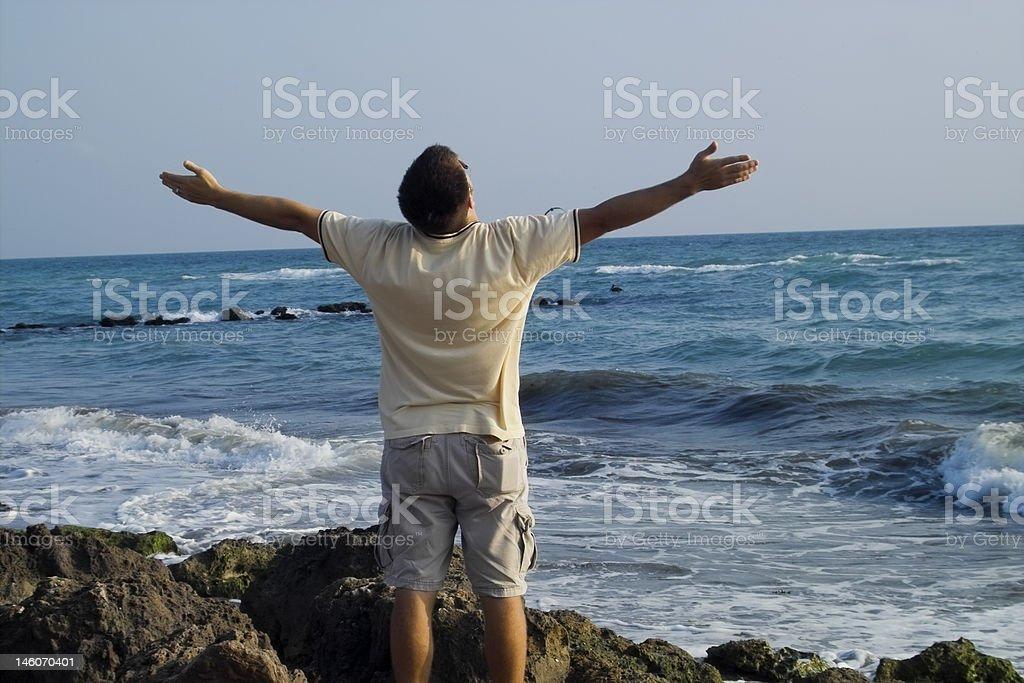 Man at the beach royalty-free stock photo