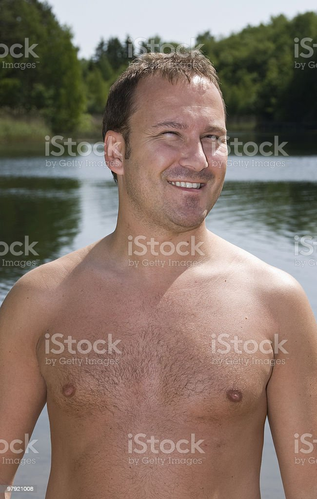 Man at the beach royalty-free stock photo