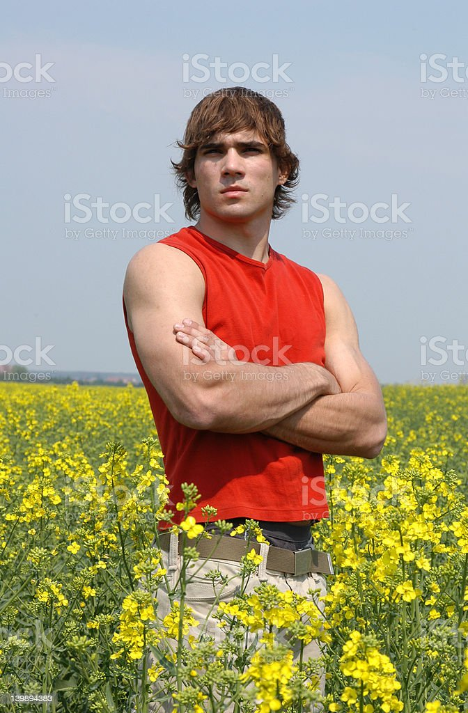 Man at the Blooming Meadow royalty-free stock photo