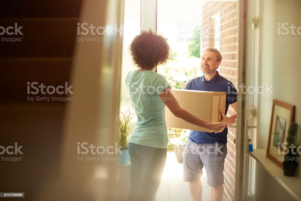 man at the door stock photo