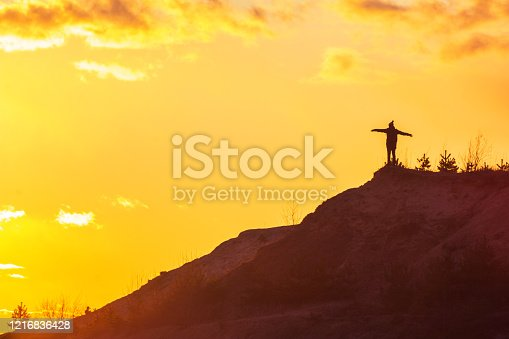 867295412 istock photo man at the top of the mountain wants to fly free 1216836428