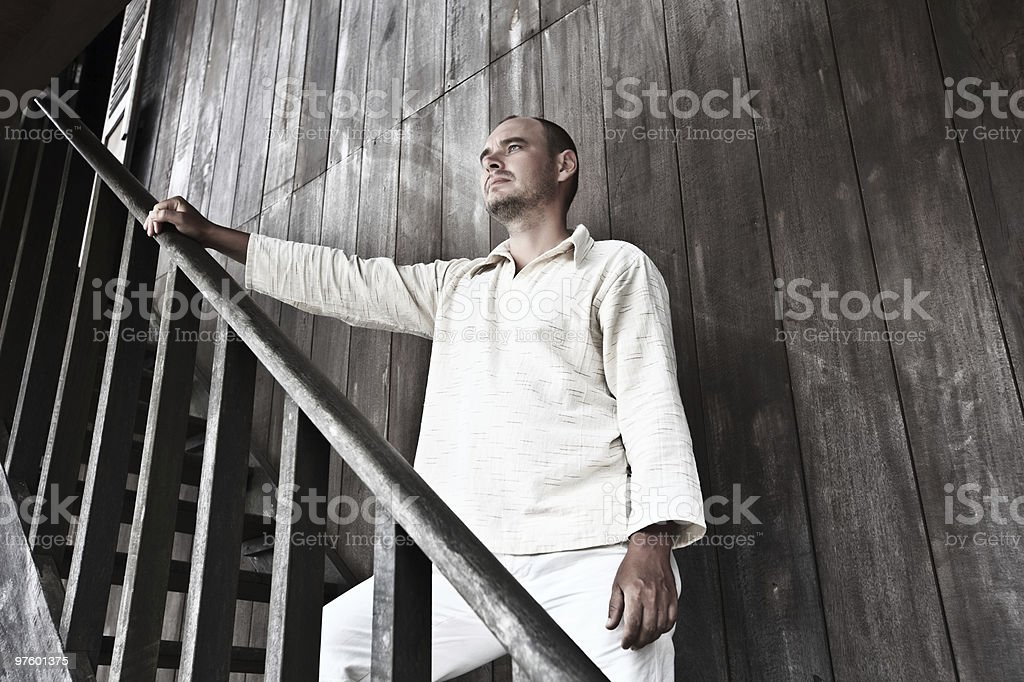 man at wooden house royalty-free stock photo