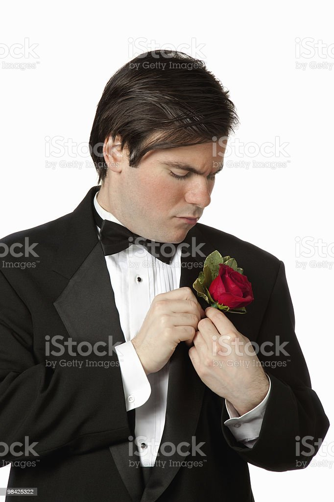 Man attaching boutonniere to tuxedo royalty-free stock photo