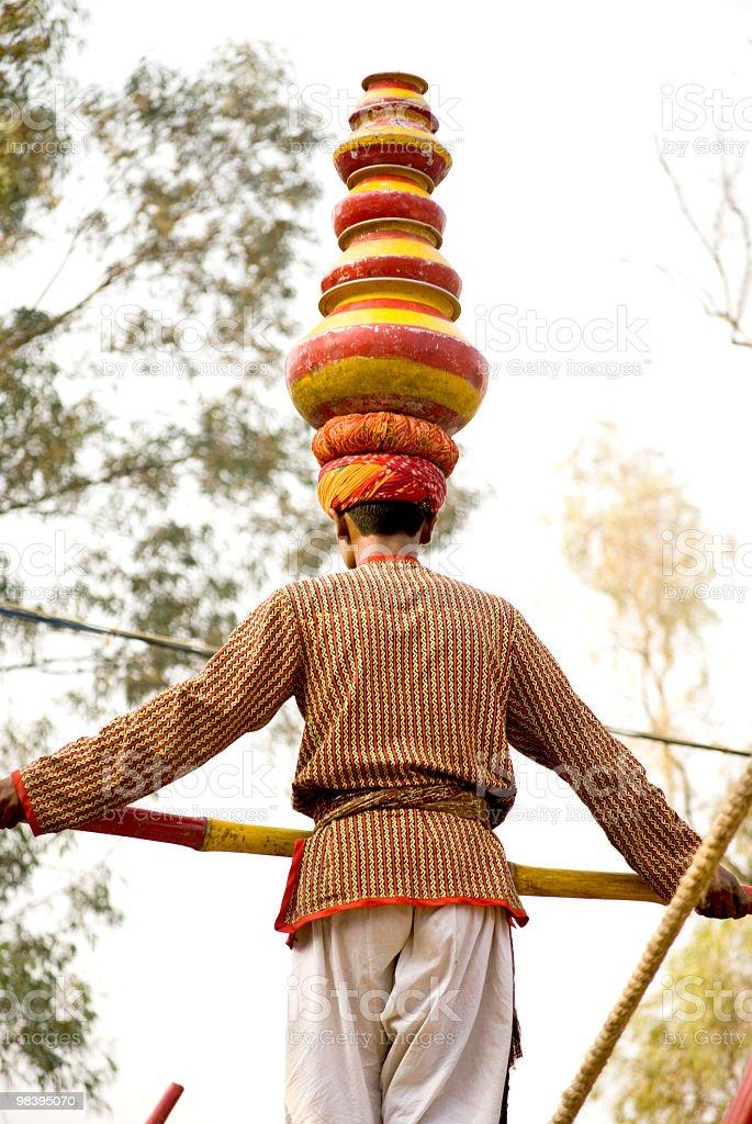 man balance on slack line royalty-free stock photo