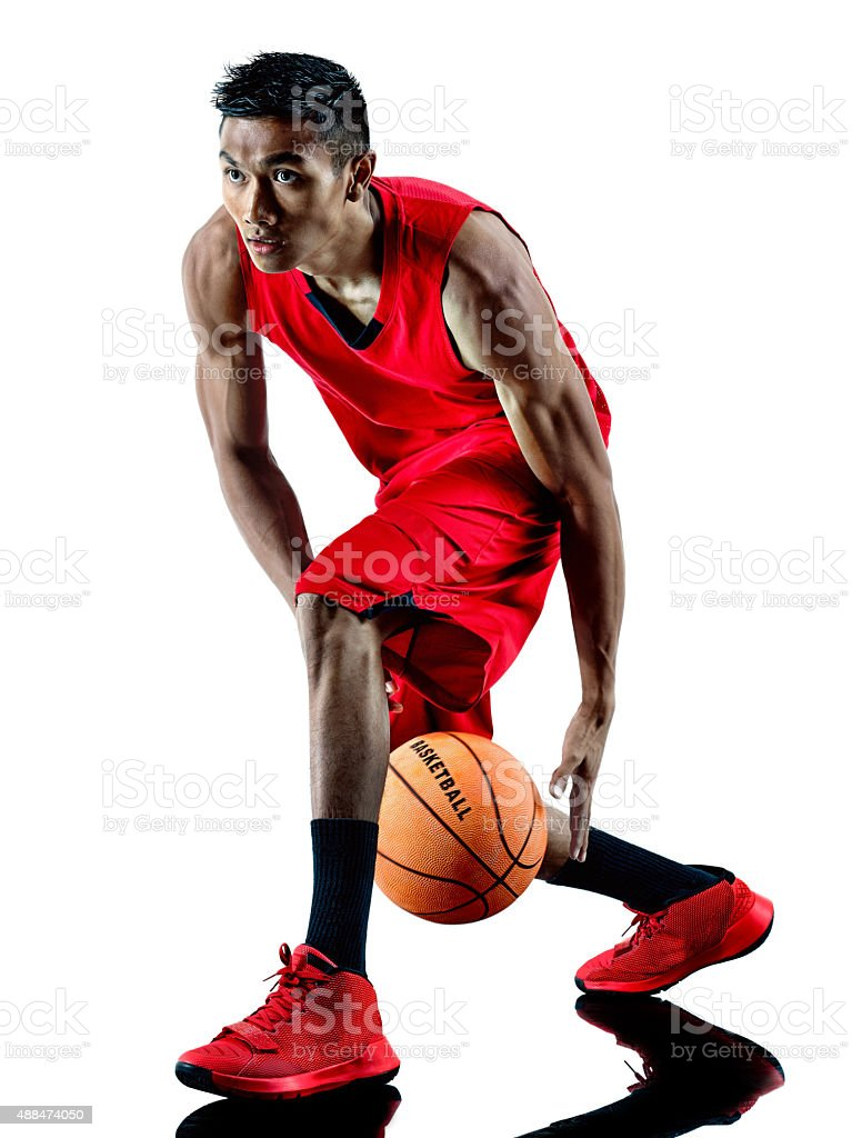 man basketball player isolated silhouette stock photo