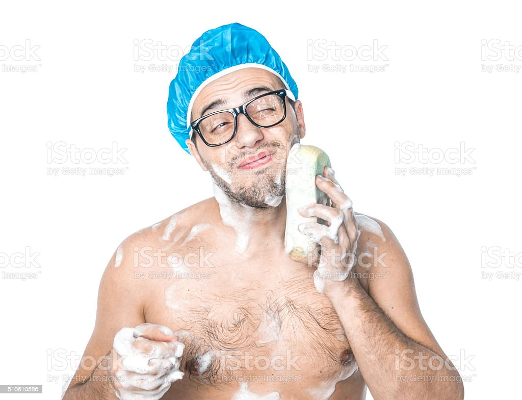 Man bathing in a bathroom stock photo