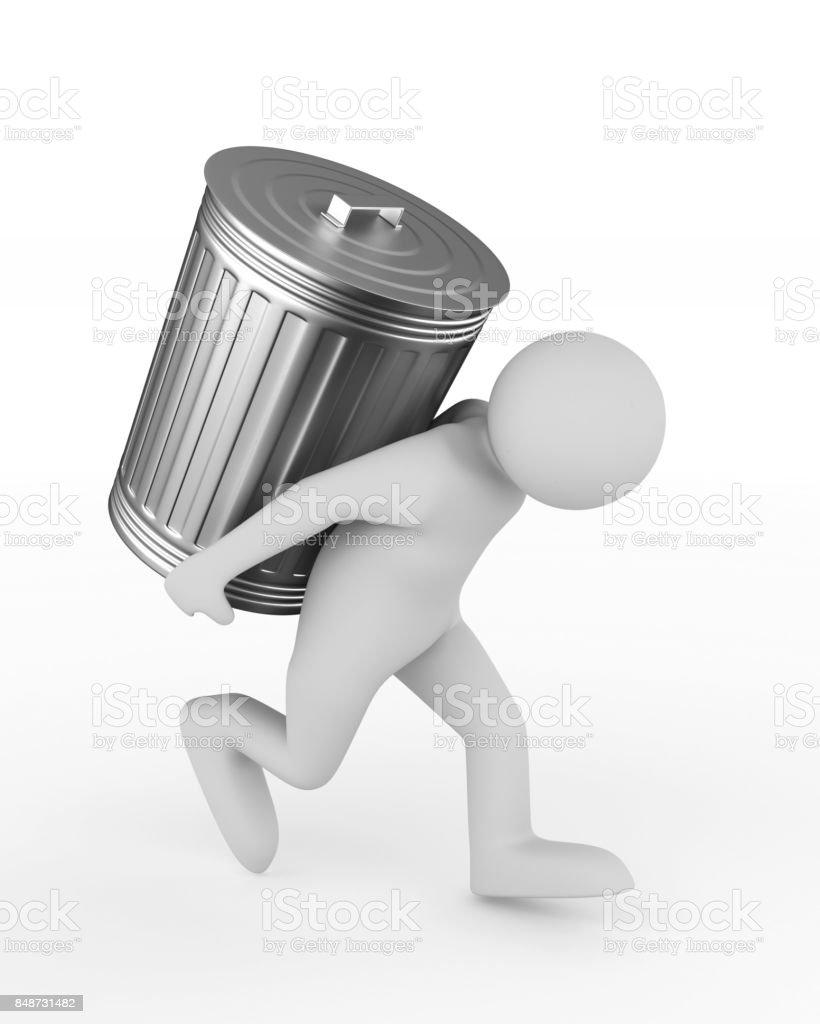 man bears garbage basket on white background. Isolated 3D illustration stock photo
