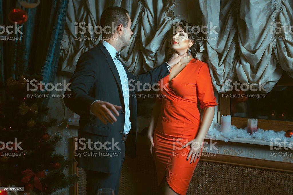 Man beats a woman. stock photo